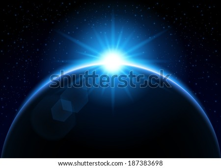 Rising sun behind the planet - blue - stock vector