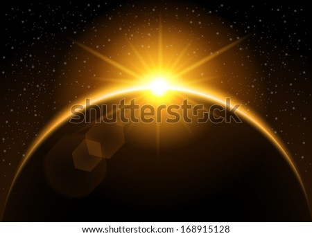 Rising sun behind the planet - vector illustration - stock vector