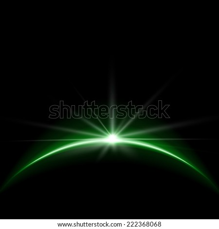 Rising Sun over the Earth Planet with Space for your Text. Vector Illustration - stock vector