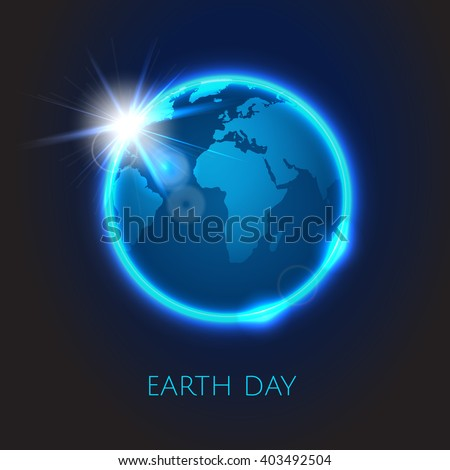 Rising Sun over the planet Earth . Earth day. Vector space background - stock vector
