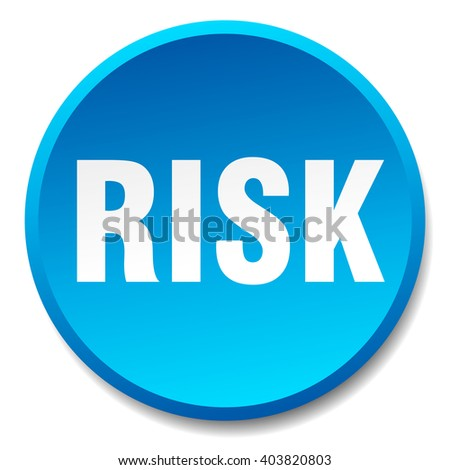 risk blue round flat isolated push button