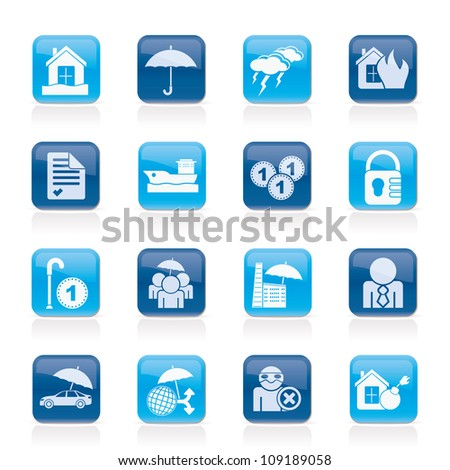 risk icons - vector icon set - stock vector