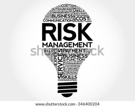 Risk Management bulb word cloud, business concept - stock vector