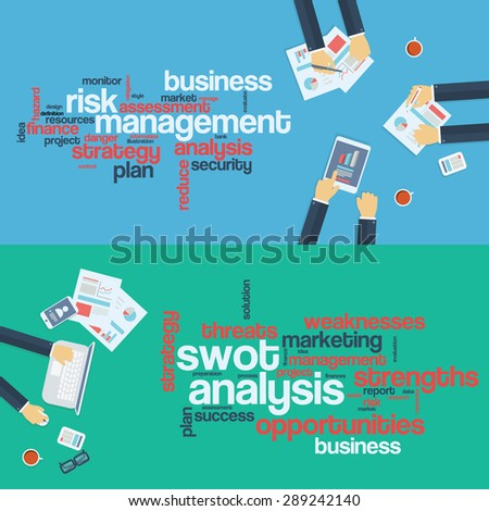 Risk management concept. Swot analysis. Business background. Board meeting. Word cloud infographics. Eps10 vector illustration. - stock vector