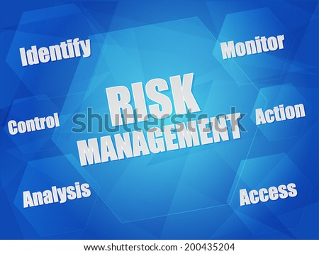 risk management - identify, control, analysis, monitor, action, access - business organization concept words in hexagons over blue background, flat design, vector - stock vector
