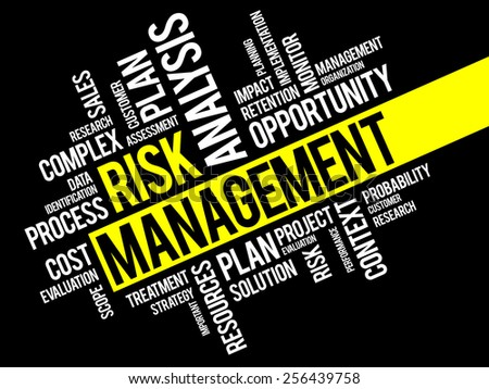 Risk Management Identifying, Evaluating And Treating Risks, business concept words cloud - stock vector