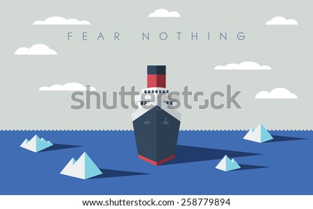 Risky adventure exploration business concept. Fearless explorer ship and icebergs in sea. Eps10 vector illustration. - stock vector