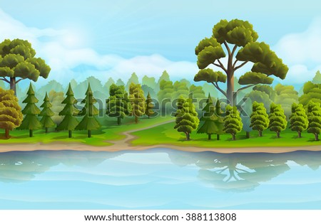 River and the forest, nature landscape, vector background - stock vector