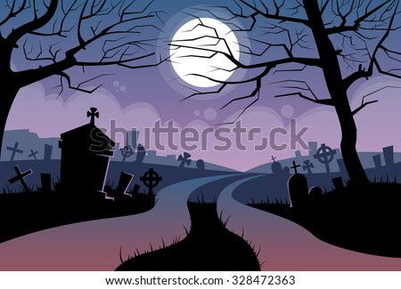 River Halloween Moon Cemetery Banner Graveyard Card Flat Vector Illustration