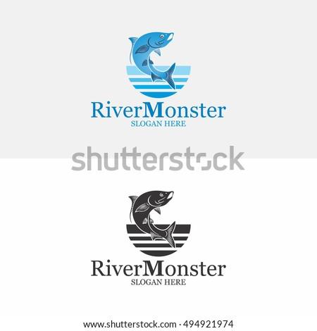 river monster logo vector stock vector royalty free 494921974