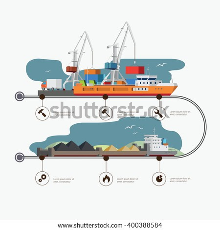 River Port and tugboat with barge infographic time line. Industry and train transportation concept. Vector illustration - stock vector