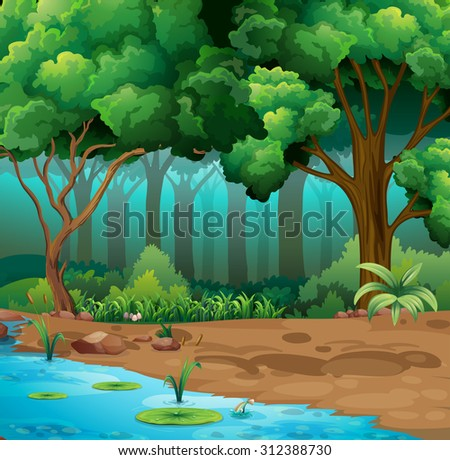 River run through the jungle illustration - stock vector