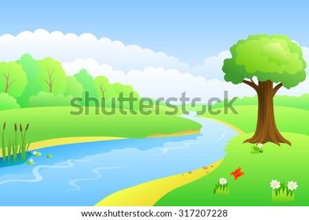 River summer landscape day illustration vector - stock vector