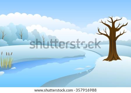 River winter landscape day illustration vector - stock vector
