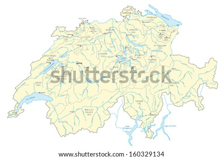 rivers and lakes of switzerland, map - stock vector