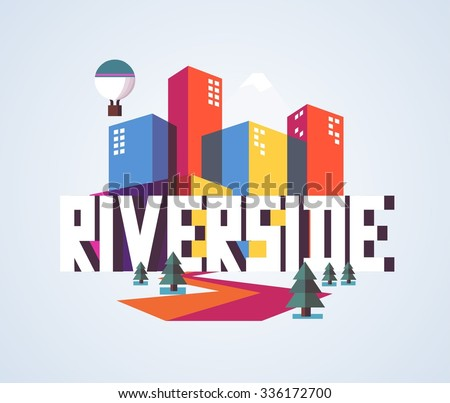 Riverside city travel destination in USA. vector cartoon, - stock vector