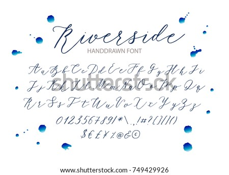 Riverside Handwritten Script Font Hand Drawn Stock Vector 749429926