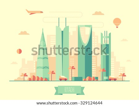 Riyadh skyline architecture, vector illustration with plane, cars and air balloon, flat design - stock vector