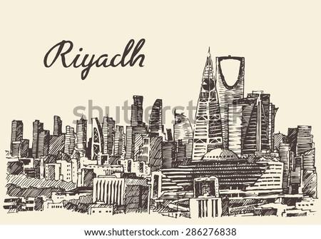 Riyadh skyline, big city architecture, vintage engraved vector illustration, hand drawn, sketch. - stock vector