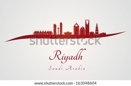 Riyadh skyline in red and gray background in editable vector file - stock vector