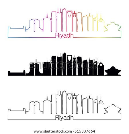 Riyadh skyline linear style with rainbow in editable vector file