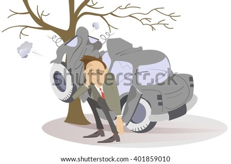 Road accident. Upset man seats near a car which crashed into the tree  - stock vector