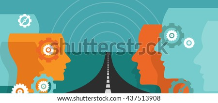 road ahead future concept of change hope plan journey leader vision uncertainty - stock vector