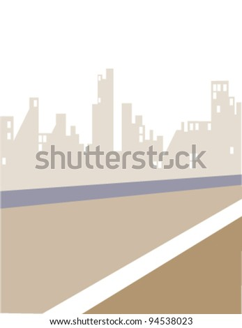 Road and City skyline - stock vector