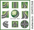 Road and direction related vector mark collection in green color - stock vector