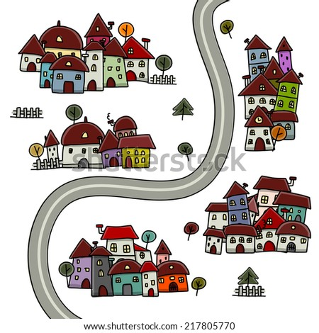 Road and houses, cityscape cartoon for your design - stock vector