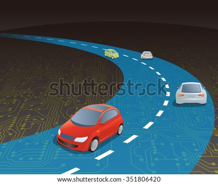 road and vehicles on electric circuit, vector illustration - stock vector