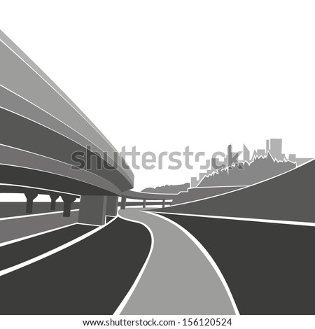 Road background,vector illustration - stock vector