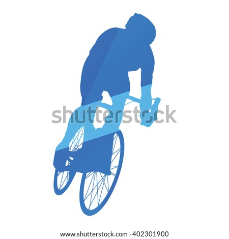 Road bicycle racing, cycling abstract vector silhouette - stock vector
