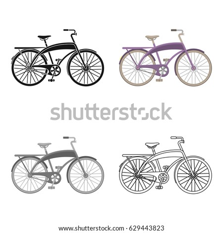 Road Bike Walking Semicircular Framedifferent Bicycle Stock Vector