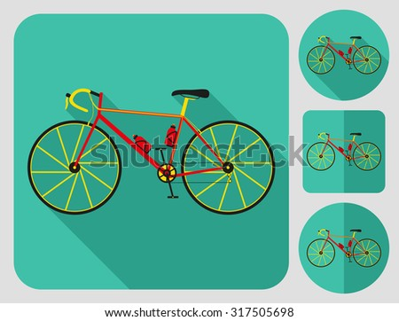 Road bike icon. Flat long shadow design. Bicycle icons series. - stock vector
