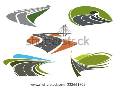 Road bridge, highway tunnel, mountain freeway and steep turns of highways icons set, for travel or transportation themes - stock vector