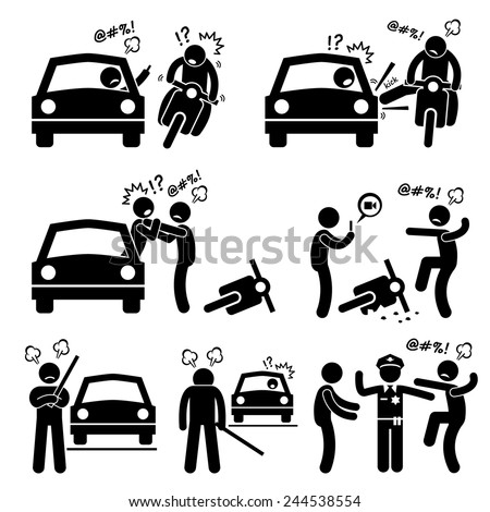 Road Bully Driver Rage Stick Figure Pictogram Icons - stock vector
