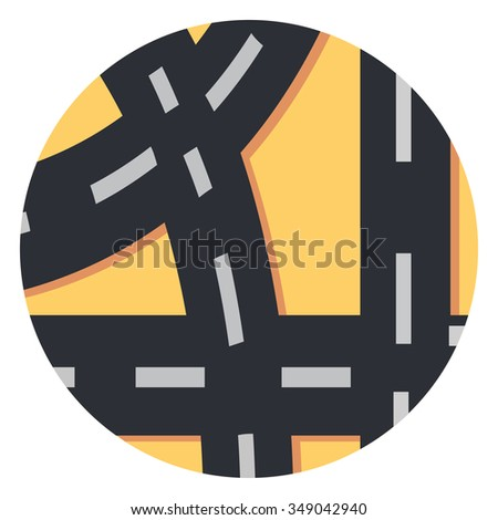 road circle icon with shadow - stock vector