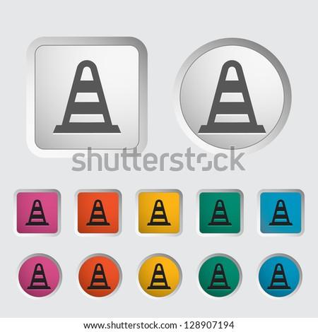 Road Cone single icon. Vector illustration. - stock vector