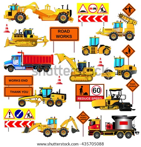 Road construction equipment. Road signs. Big set of ground works machines and vehicles. Loaders, bulldozer, tractor, scraper, grader, asphalt paver and mixer. Vector illustration. Icons. Flat style