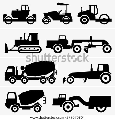 Road construction machinery - stock vector
