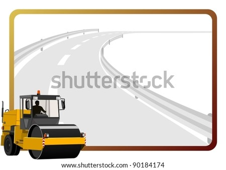 Road construction machinery in the background of a frame with an asphalt road. - stock vector