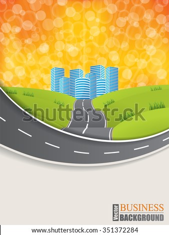 Road design brochure with glowing sunset background