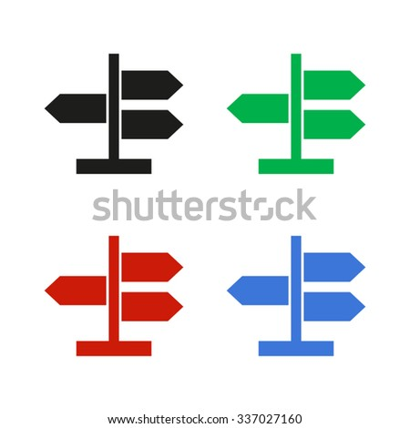 Road direction sign - color vector icon - stock vector