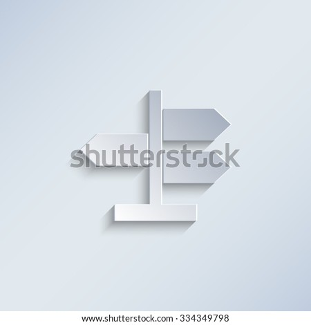 Road direction sign - paper vector icon - stock vector