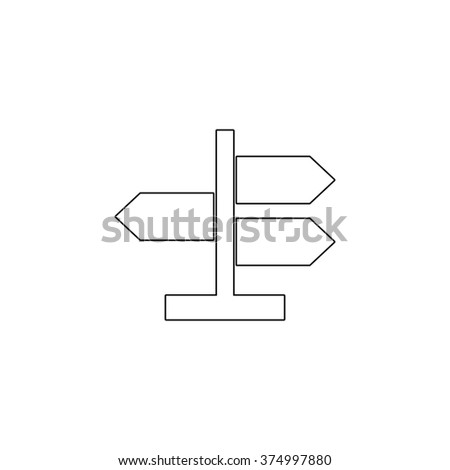 Road direction sign -  vector icon - stock vector