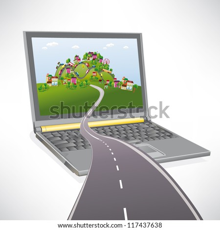 Road disappearing into the virtual city - stock vector