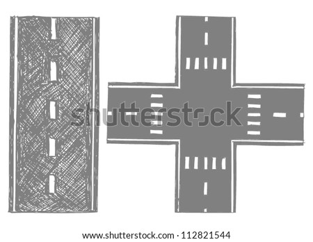 Road. Doodle style - stock vector