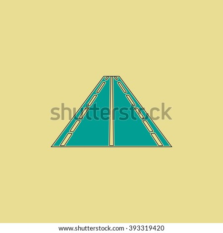Road Flat line icon on yellow background. Vector pictogram with stroke - stock vector
