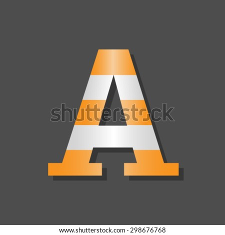 Road font, letter A - stock vector